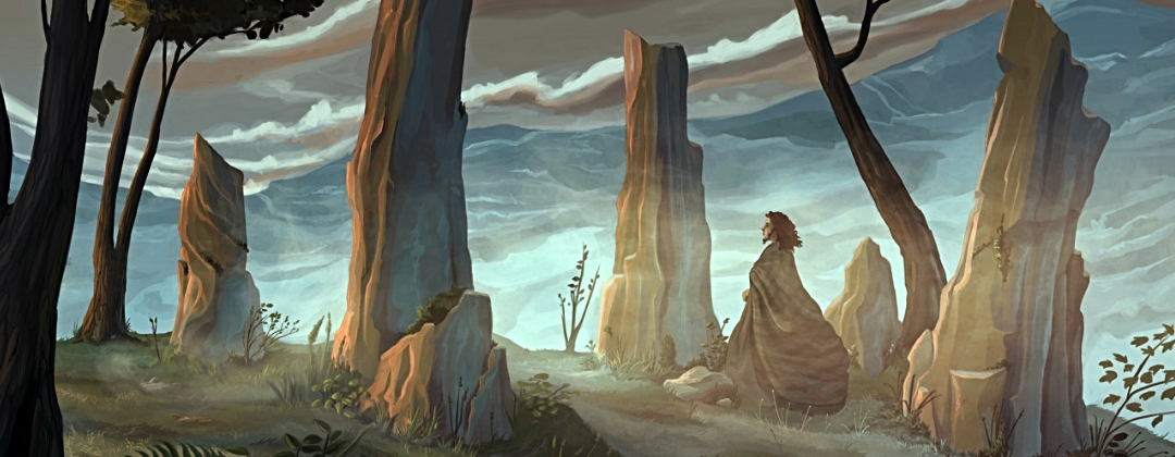 Shaman walking through standing stones