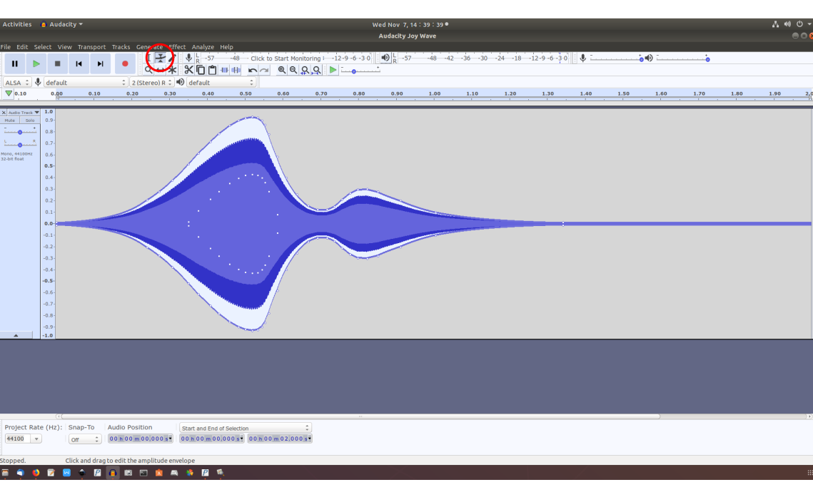 "Screenshot of waveform for ""joy"" generated in Audacity"